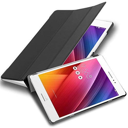Cadorabo Tablet Hülle für Asus ZenPad S 8.0 (Z580CA / Z580C) in Satin SCHWARZ - Ultra Dünne Book Style Schutzhülle mit Auto Wake Up & Standfunktion aus Kunstleder