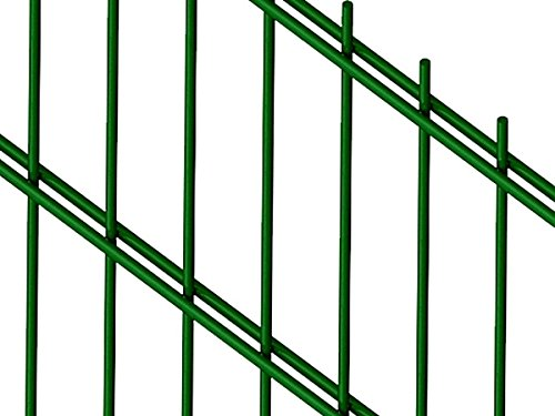 Doppelstabmattenzaun | Gartenzaun | Komplettset | 163cm hoch | verzinkt und pulverbeschichtet (30m, Grün (RAL 6005))