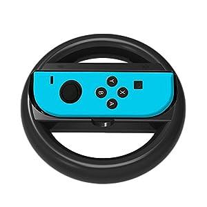 niceEshop(TM) Nintendo Switch Lenkrad Controller, Joy-Con Wheel für Nintendo Switch (2 Pack), Schwarz
