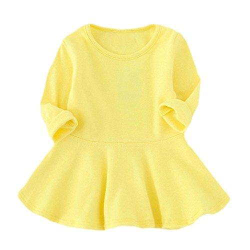 Baby Kind Mädchen Kleid, QinMM Süßigkeit Farben lange Hülsen feste Prinzessin beiläufiges Kind Kleid (1-3Y, Gelb)