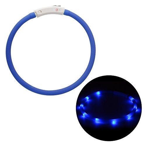 Kragen Hund Weihnachten (Kreema 70CM Cuttable LED Hundehalsband, USB wiederaufladbar, wasserdicht leuchtende Haustier Hund Katze Kragen (blau) für die Nacht Sicherheit, Mode leuchtet Kragen)