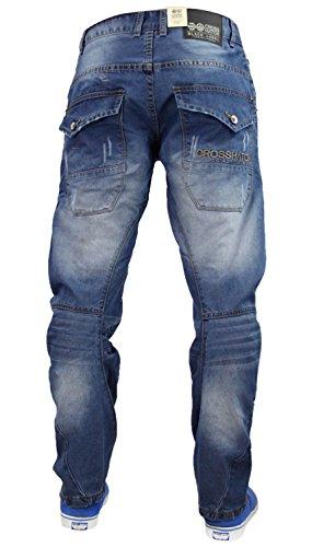 Mens Designer Crosshatch Curved Banana Leg Denim Engineered Cargo Jeans Vierra - Stone Wash