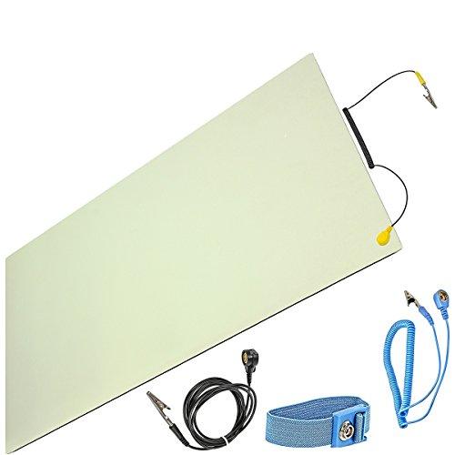 Minadax ESD Antistatik-Matte 30cm x 55cm - inkl. Manschette + Verlängerung - Professionelle Antistatische Arbeitsmatte - PVC-Matte mit Erdungskabel - Qualität - ESD-Schutz -