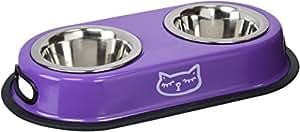 Vitakraft Set de 2 Ecuelles Inox pour Chat Bleu/Violet- Coloris aléatoire
