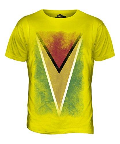 CandyMix Guyana Verblichen Flagge Herren T Shirt Zitronengelb