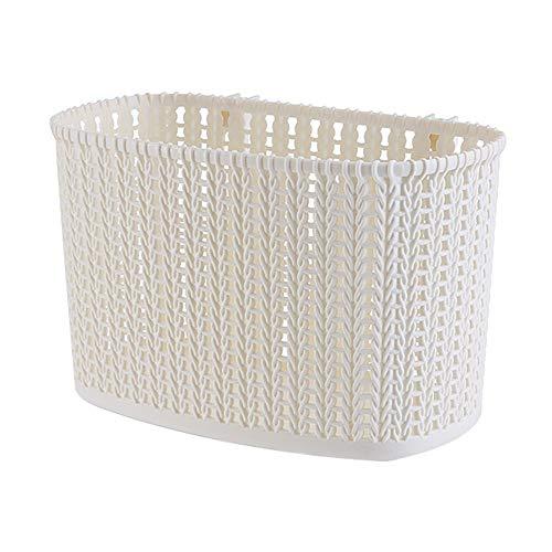 LY/WEY 1Pcs Bathroom Rattan Hanging Basket Multifunction Kitchen Storage Basket with Hook Wall-Mounted Bath Wash Basket,White