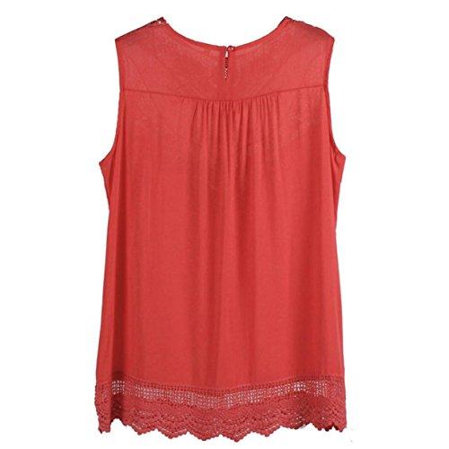 CYBERRY.M Débardeur Femme Fille Été Sans Manches Dentelle Col Rond Tank Chemise Vest T-shirt Rouge