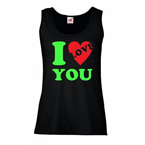 Femme Débardeur Sans manche Je t'aime! - SAINT-VALENTIN Idées-cadeaux Noir Verte