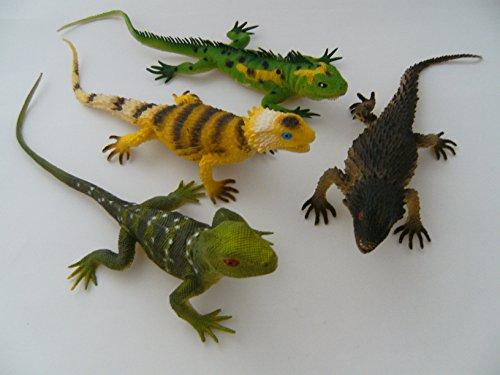 Ravensden Eidechsen, 4erSet, ca. 30 cm, Echse Echsen Eidechse, Hartgummi, Spielzeug Tiere, Set 1