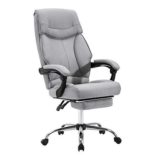 EUGAD 0007BGY Bürostuhl Chefsessel Schreibtischstuhl Drehstuhl Computerstuhl mit Fußstütze, mit Wippfunktion, Höhenverstellbar, Stoffbezug, Hellgrau