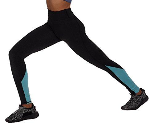 Smile YKK Legging Yoga Femme Coton Pantalon Jogging Sport Entraînement Collant Elastique Bleu