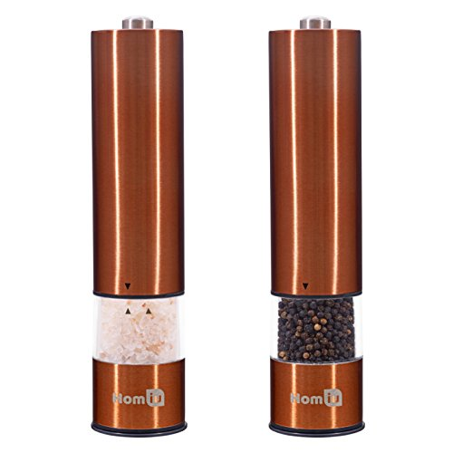 Homiu Elektrische Salz- und Pfeffermühle aus Edelstahl mit Beleuchtung - Hochwertige Gewürzmühle mit verstellbarem Mahlwerk - Salt and pepper Grinder - Feine Mühle Kupfer