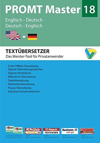 PROMT Master 18 Englisch-Deutsch: Preisgekröntes Übersetzungsprogramm mit intelligenter Textanalyse Englisch-Deutsch und Deutsch-Englisch für ... 7, 8 und 10. (PROMT Übersetzungssoftware)