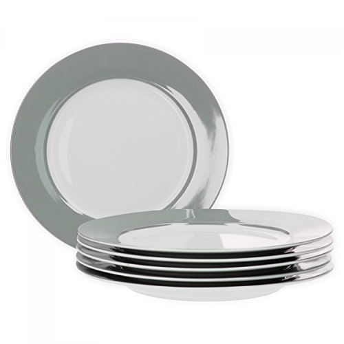 Van Well 6er Set Speiseteller Essteller flach Serie Vario Porzellan - Farbe wählbar, Farbe:grau (Grau-kaffee-tisch)