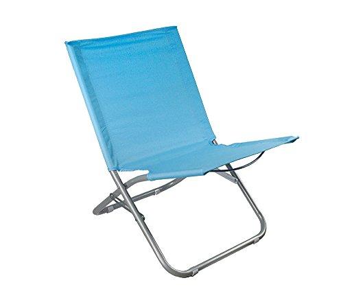 Vetrineinrete® spiaggina pieghevole per spiaggia mare e piscina sedia sdraio in metallo e acciaio rivestita in tessuto azzurro p38