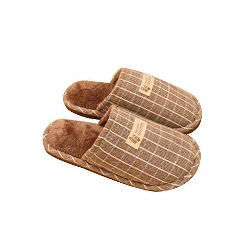 TELLW Pantoufles de Coton DHiver Hommes Femmes Couples Simple Carré en Treillis de Coton Glisser et Glisser-Proof Pantoufles à la Maison Chaude en Peluche Beige