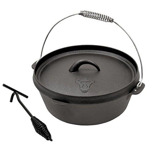 BBQ-TORO DO8 Dutch Oven Topf, Kochtopf aus Gusseisen, Gusstopf, Bräter, ohne Beine