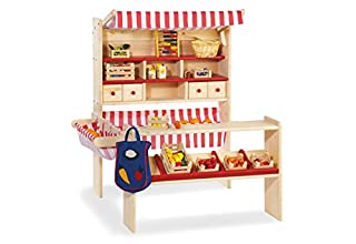 Pinolino Marktstand Lucy, massives Holz, besonders standfest, Tresen rechts oder links montierbar, für Kinder ab 2 J., rot (B000FBG8UU)   Amazon Products