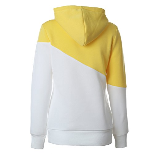 Felpa Donna Con Cappuccio Maniche Lunghe Colori Misti Elegante Sweatshirt Hoodies Sportiva Casuali Pullover Hoody Autunno Invernale Moda Streetwear Felpe Giallo