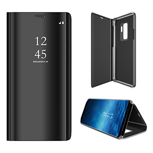 BeautyWill Galaxy S9 Book Case, Vergoldung Spiegel Flip Wallet Ständer Full Body Schutz PU-Leder Clear View Smart Cover Handy Case Shell für Samsung Galaxy S9, Damen, Grau, Samsung Galaxy S9 Flip-blende