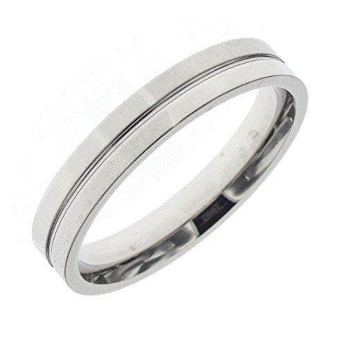 Anniversary collection anello in acciaio 316l fedina mista lucida e satinata fidanzamento lui/lei - 32