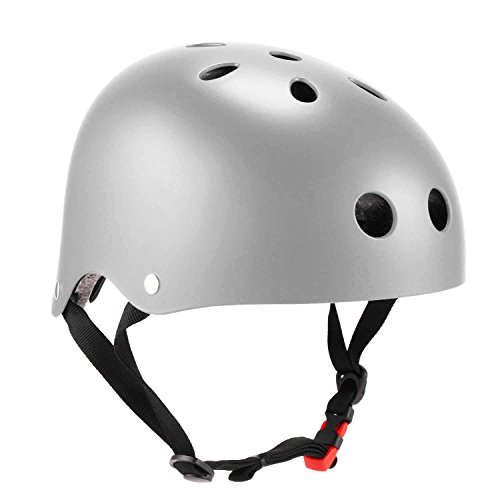 Speedrid Fahrradhelm Multi-Sport Sicherheit, Skaterhelm für Jungen und Kinder (Silber, 56-60 cm)