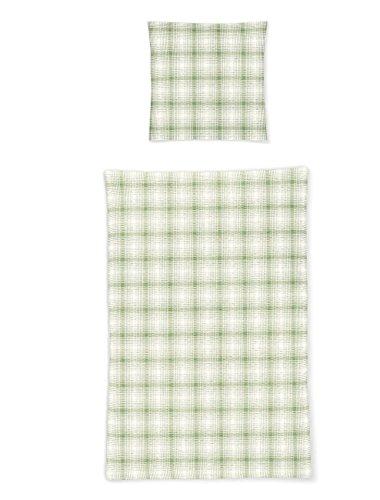 Irisette Seersucker Bettwäsche Karo grün 135x200 cm + 80x80 cm