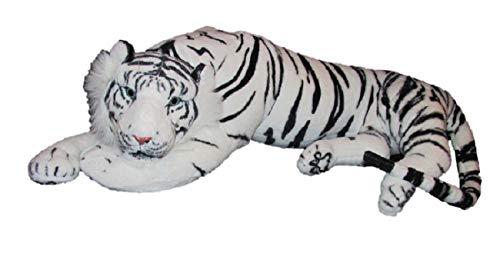 Geschenkestadl Weisser Tiger XXL Plüschtier 85 cm Kuscheltier Softtier Raubkatze Weiss Stofftier