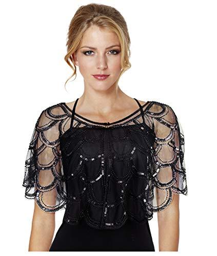 L'vow donna 1920s gatsby scialle di paillettes deco da sera cape stola bolero flapper perline coprire up (nero)