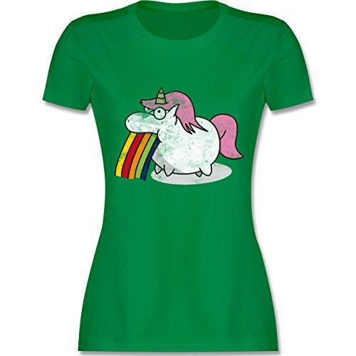 Shirtracer Einhörner - Kotzendes Einhorn Vintage - Damen T-Shirt Rundhals Grün