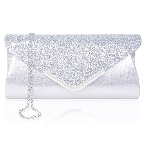 Larcenciel Damen Clutch Abendtasche Unterarmtasche Umhängetasche mit Strass-Steinen und abnehmbarer Kette in den Farben Silber Gold Altrosa(Silber) -