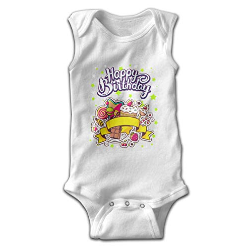 Ljkhas232 Baby Sleeveless Bodysuits Happy Birthday Unisex Cute Lap Shoulder Onesies 6M -