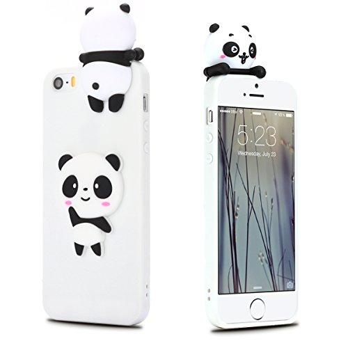 iphone 5 Hülle, iphone 5s se Schutzhülle Einfarbig, 3D Weißer Panda Muster Design Handy Hülle für iphone 5 5s se(4 Zoll), Ultra Dünn TPU Weich Silikon Handycover Schale Schutzhülle Ultradünnen - Fall Interessante Iphone 5