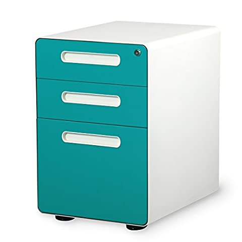 DEVAISE Mobile 3 Drawer Filing Cabinet with Anti-tilt mechanism; A4 size, All-Steel, Lockable, 60cm H,