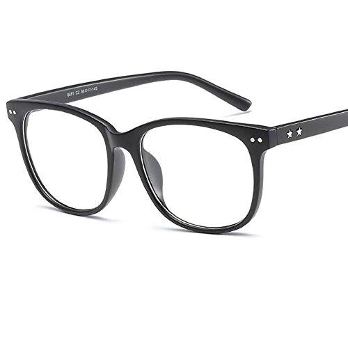 LANOMI Retro Nerdbrille Runde Brille Brillenfassung Ohne Stärke Hornbrille Damen Herren mit Brillenetui (Matt Schwarz)