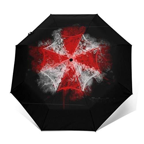 Umbrella Corp Smoke Resident Evil sombrilla de Viaje Plegable compacta con Apertura y Cierre automático, Plegable