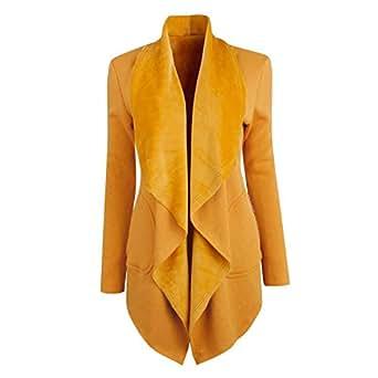 Semen Femme Blazer Manches Longues Vest de Tailleur Loose Cardigan Gilet Chaud Printemps Automne Pull Uni Casual OL Bureau 34-36 FR/Tag M Jaune