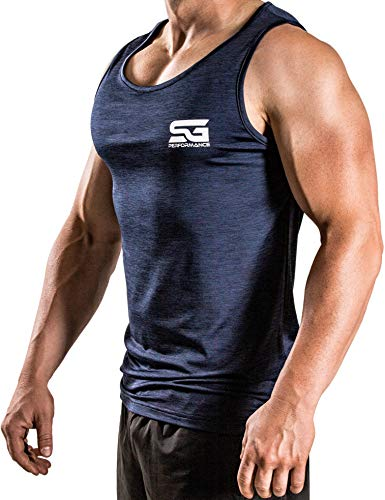 Satire Gym - Herren - Fitness Tank Top Männer - Sport Bekleidung Stringer Gym (Navy Blue meliert, L)