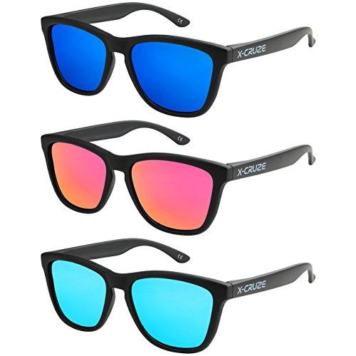 X-CRUZE 3er Pack X01 Nerd Sonnenbrillen polarisierend Vintage Retro Style Stil Unisex Herren Damen Männer Frauen Brillen Nerdbrille Nerdbrillen - schwarz matt LW - Set M -