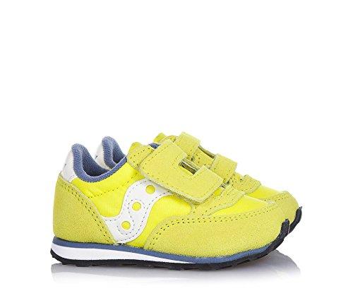 SAUCONY - Basket Baby Jazz jaune en suède et microfibre, avec fermeture en velcro, logo sur la languette et à l'arrière, garçon, garçons Yellow/bleue