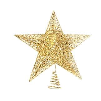 BESTOYARD Topper de árbol de Navidad Estrella Dorada Decoración de Fiesta de árbol de Navidad 12 cm