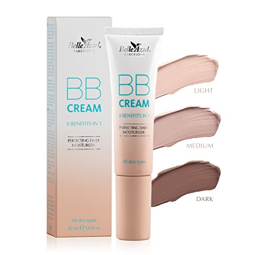 Belle Azul BB Cream 8 beneficios en 1 crema – Piel impecable ✔ Anti imperfecciones ✔ Hidratante ✔ 3 Tonos ✔ claro – medio – oscuro ✔ 30ML ✔ Vegana