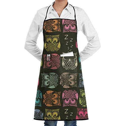 Bib Apron with Pocket Cute Owl Pattern Kitchen Apron Waterproof for Cooking Baker Servers BBQ 20