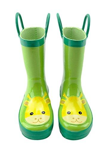 Bigood Botte de Pluie Enfant Caoutchouc Chaussures Animaux Imprimé Casual Mignon Vert