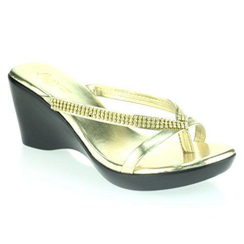 Frau Damen Diamant Zehe Stab Schlüpfen Keilabsatz Täglich Lässig Komfort Party Sandalen Schuhe Größe Gold