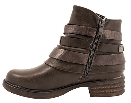 Elara Damen Biker Boots | Trendige Kurzschaft Stiefeletten | Schnallen Nieten Grau Washington