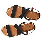 Sandalen Damen,ABsoar Rutschfest Sandaletten Frauen Gummiband Sommerschuhe Niedrige Ferse Strand Schuhe Cross Strap Sandalen Peep-Toe Sandalen Größe 35-41