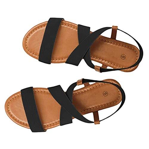 Sandalen Damen,ABsoar Rutschfest Sandaletten Frauen Gummiband Sommerschuhe Niedrige Ferse Strand Schuhe Cross Strap Sandalen Peep-Toe Sandalen (Schwarz, 38)