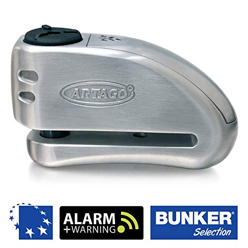 Artago 32 Candado antirrobo Moto Disco Alarma + Warning 120 db Alta Gama, ø15 Cierre s.a.a, homologado Sra, Acero Inoxidable