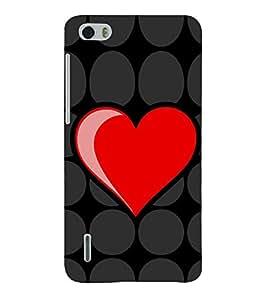 Fiobs Designer Back Case Cover for Huawei Honor 6 Plus (Heart Dil Black Romance Love Pyar Romantic Dots )